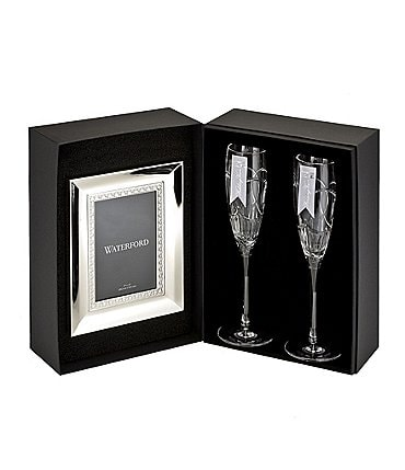 Image of Waterford Crystal Wedding Vows Flute Pair and Frame Gift Set