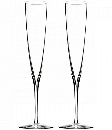 Image of Waterford Elegance Crystal Champagne Trumpet Flute Pair