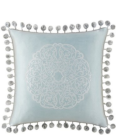 Image of Waterford Jonet Ball-Fringed Medallion-Embroidered Satin Square Pillow