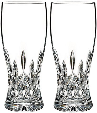 Image of Waterford Lismore Crystal Pint Beer Glass Pair