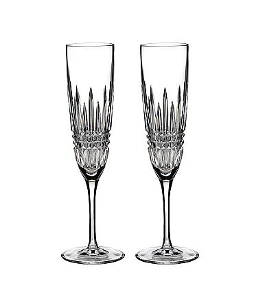 Image of Waterford Lismore Diamond Crystal Champagne Flute Pair