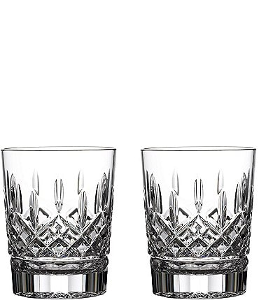 Image of Waterford Lismore Crystal Double Old Fashioned Glass Pair