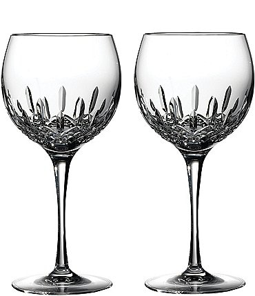 Image of Waterford Lismore Essence Crystal Wine Balloon Pair