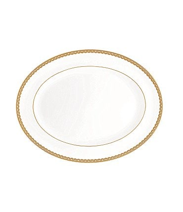 Image of Waterford Lismore Lace Gold Bone China Oval Platter