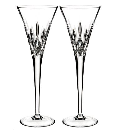 Image of Waterford Lismore Pops Crystal Toasting Flute Pair