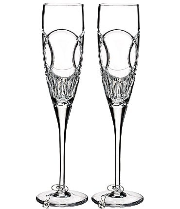 Image of Waterford Wedding Vows Interlocking Rings Crystal Flute Pair