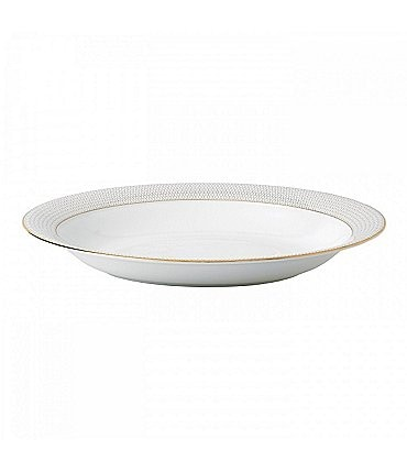 Image of Wedgwood Arris Geometric Bone China Oval Serving Bowl