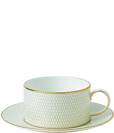 Image of Wedgwood Arris Geometric Gold Bone China Teacup and Saucer