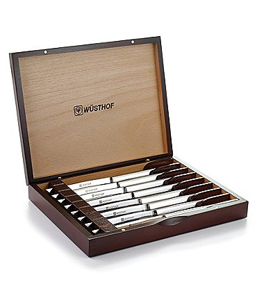 Image of Wusthof 8-Piece Stainless Steel Steak Knife Set with Wooden Gift Box
