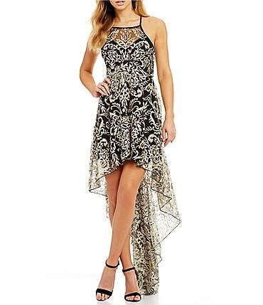 Image of Xtraordinary Embroidered Metallic Lace High-Low Dress