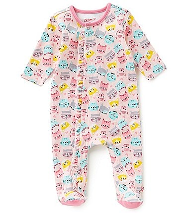 Image of Zutano Baby Girls Newborn-6 Months Ruffle Cat-Print Footed Coverall