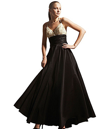 JS Collections Taffeta Halter Gown