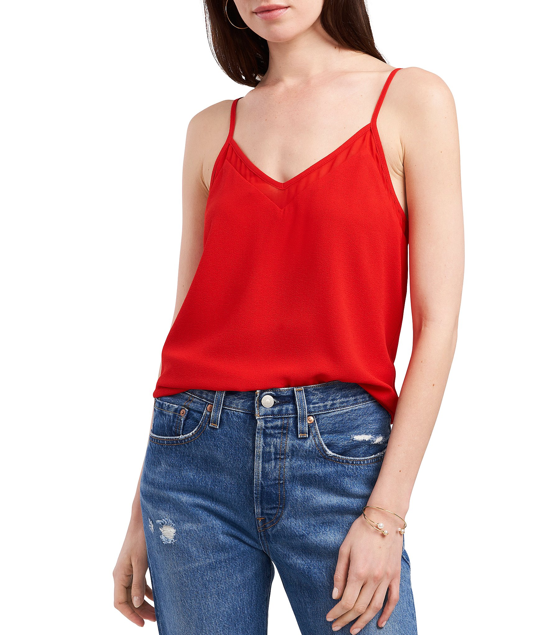 1 STATE NEW Women/'s Mineral Red Wrap Front Camisole Tank Shirt Top S TEDO