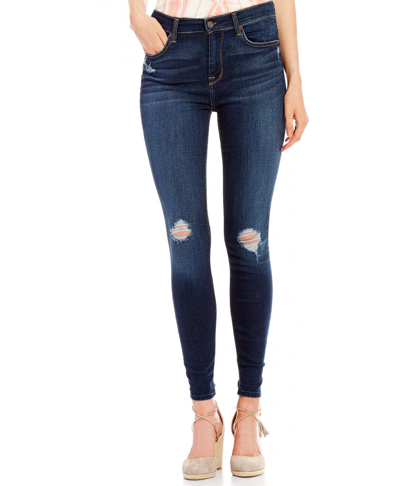 7 for all mankind High Waist Destructed Ankle Skinny Jeans | Dillards