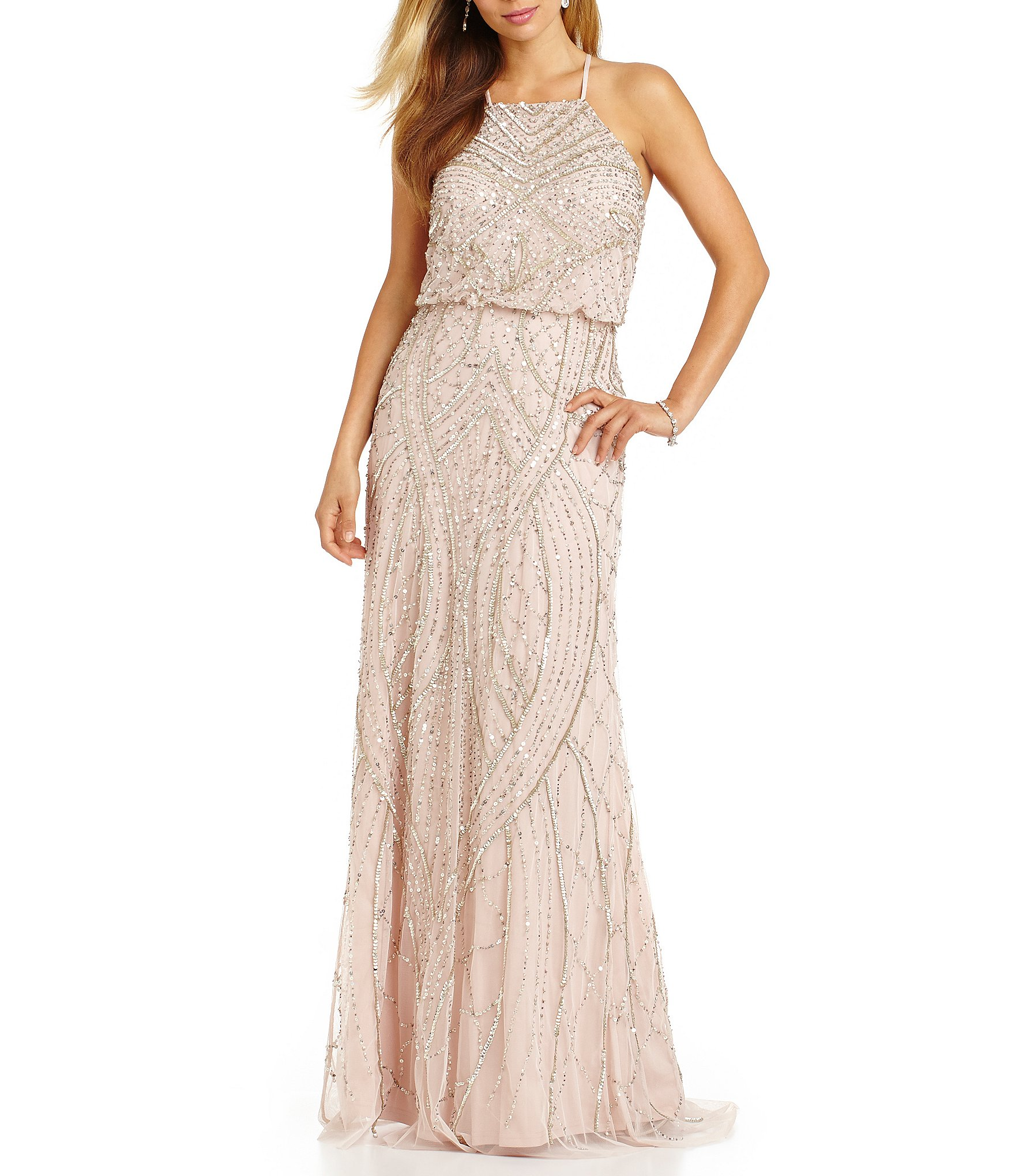 adrianna papell wedding dress papell beaded blouson gown dillards 1210