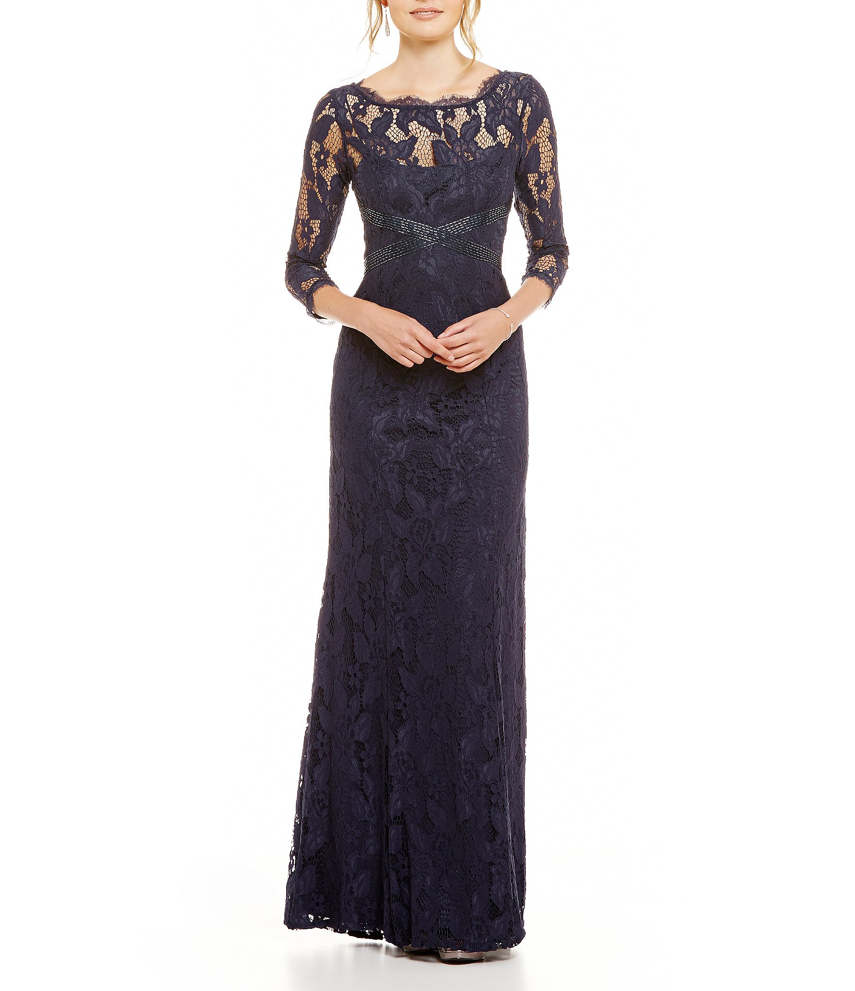 Adrianna Papell Beaded Lace 3 4 Sleeve Gown Dillards