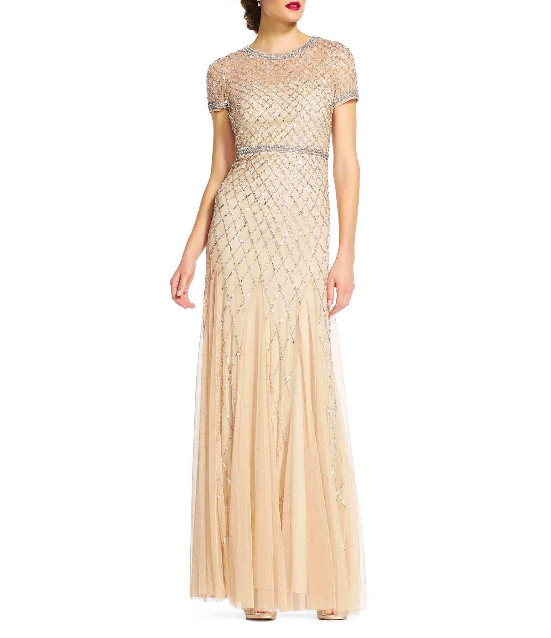 Adrianna Papell Beaded Short Sleeve Gown Dillards