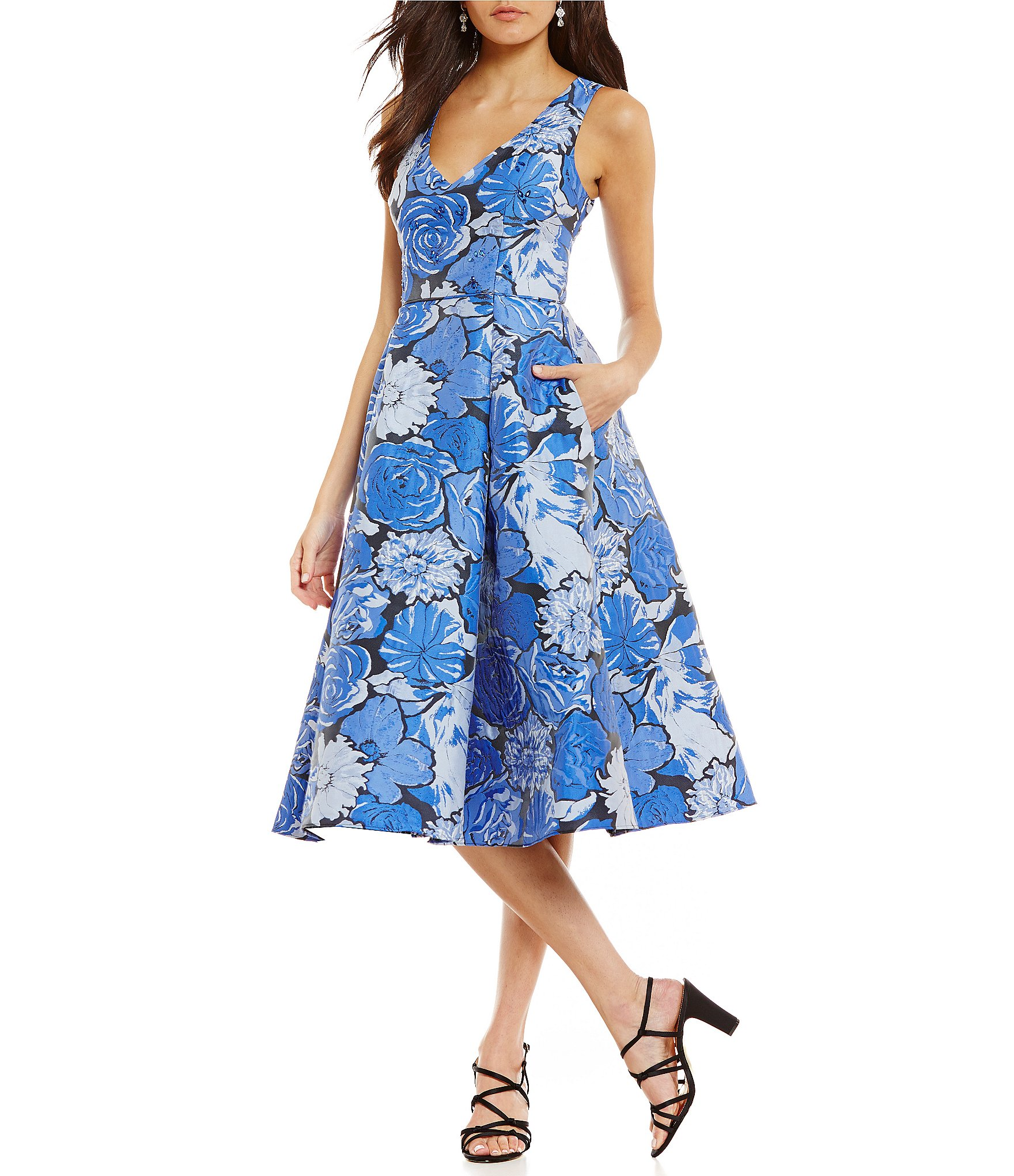 Adrianna Papell Floral Jacquard Fit And Flare Dress Dillards