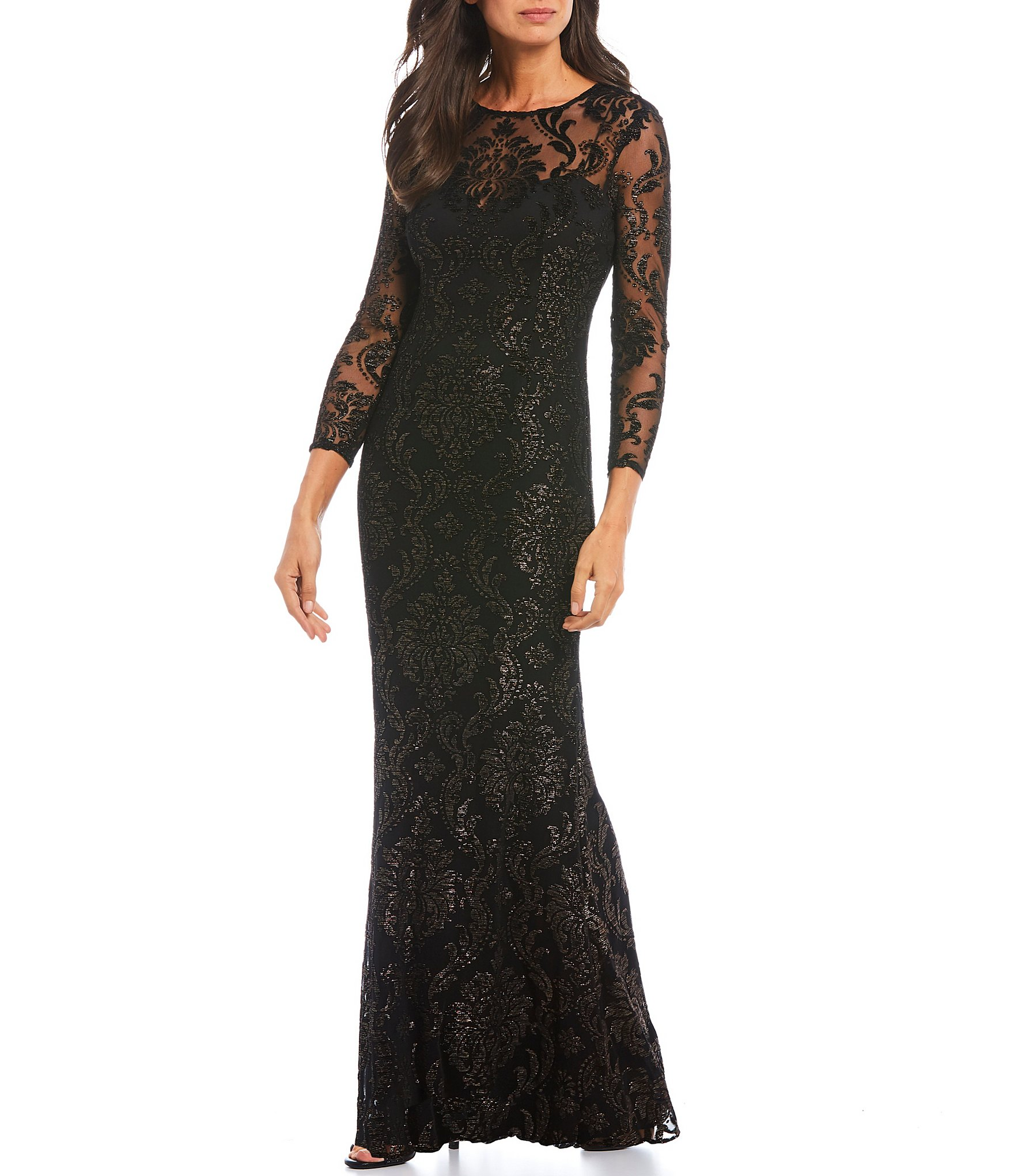 Adrianna Papell Metallic Stretch Burnout Mesh Gown