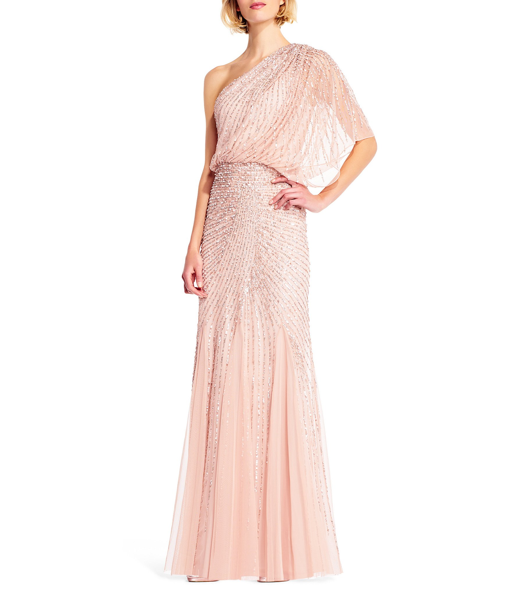 Adrianna Papell One Shoulder Beaded Blouson Gown | Dillards