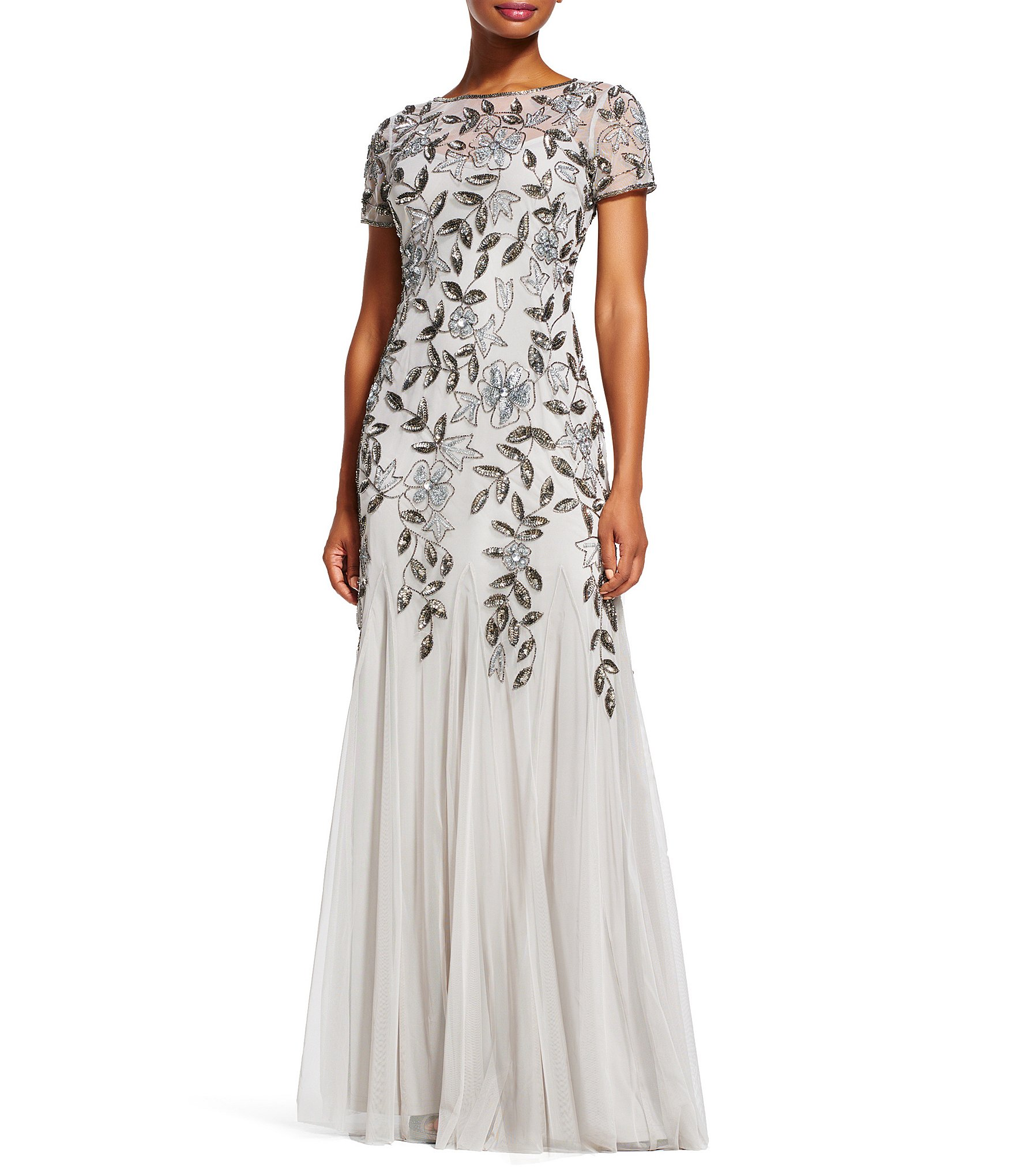 Adrianna papell petite floral beaded gown dillards for Silver wedding dresses for sale