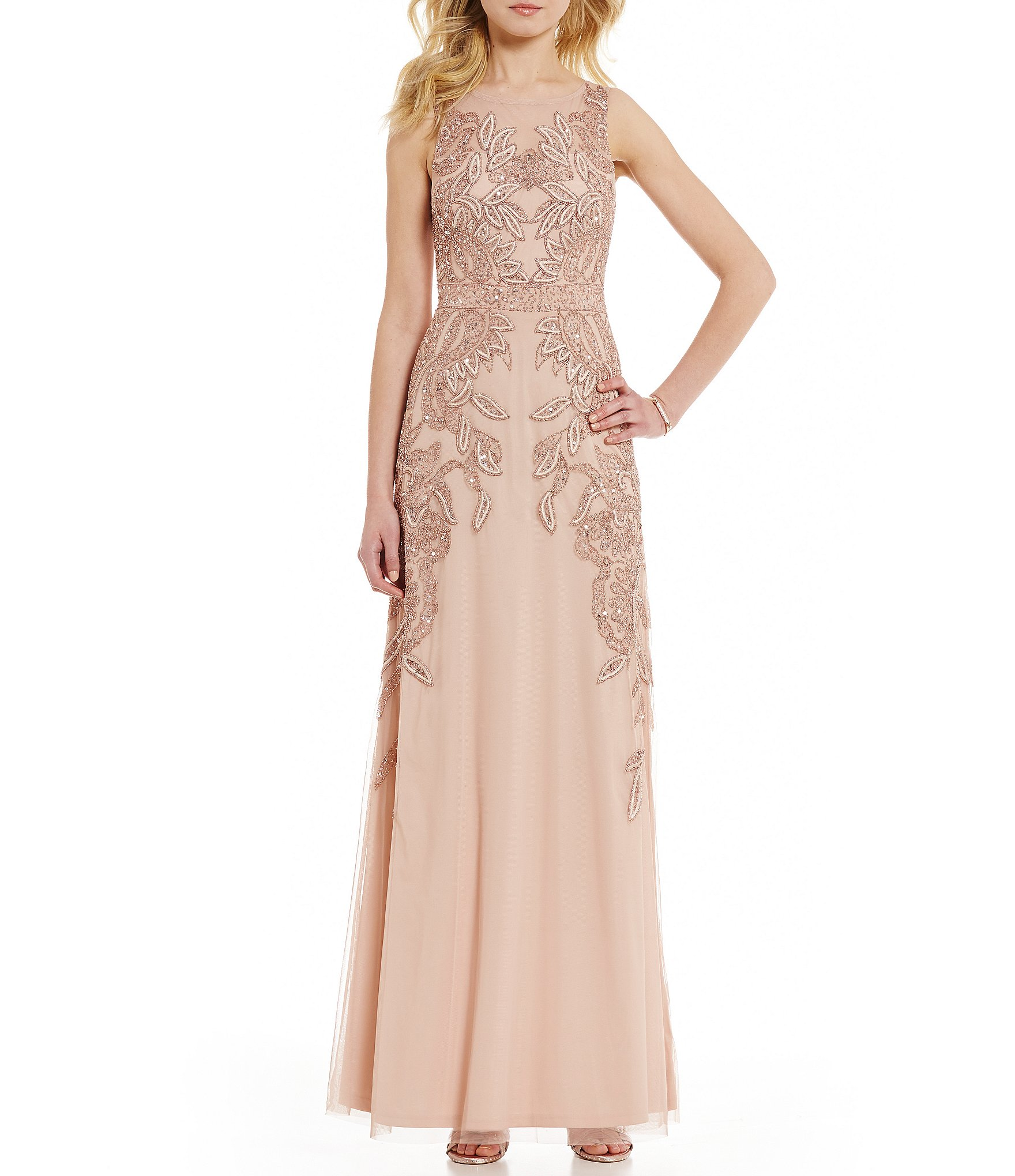 Adrianna papell petite sleeveless beaded gown dillards for Wedding dresses with gold beading