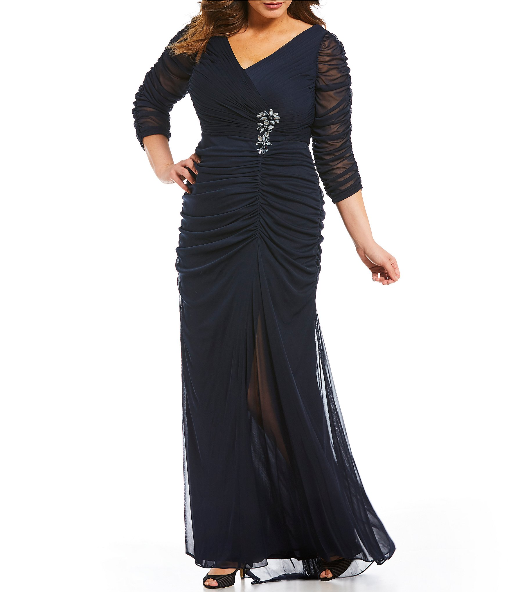 Adrianna Papell Plus Beaded Waist Gown