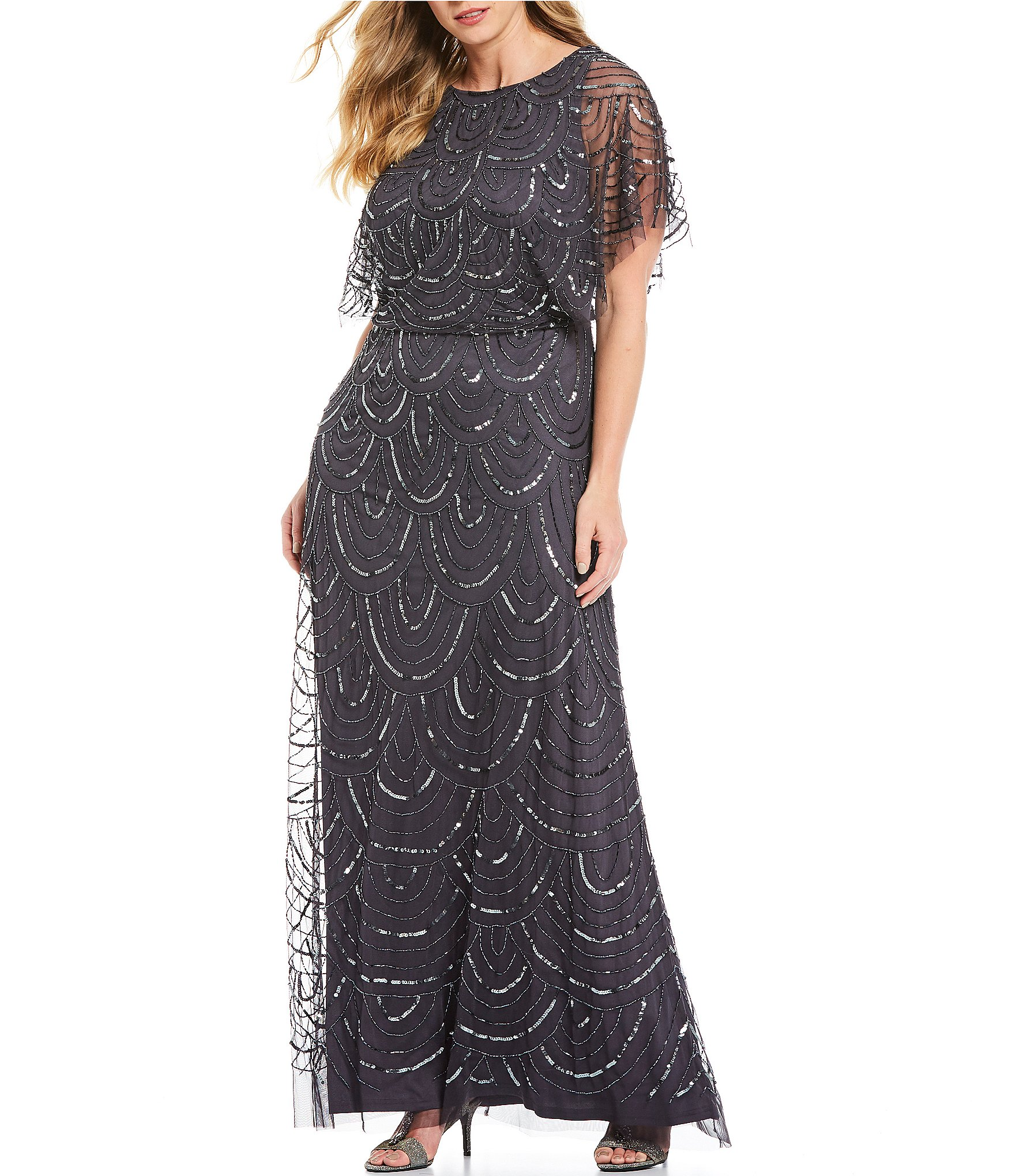 Adrianna Papell Plus Size Scallop Beaded Blouson Flutter Sleeve Gown