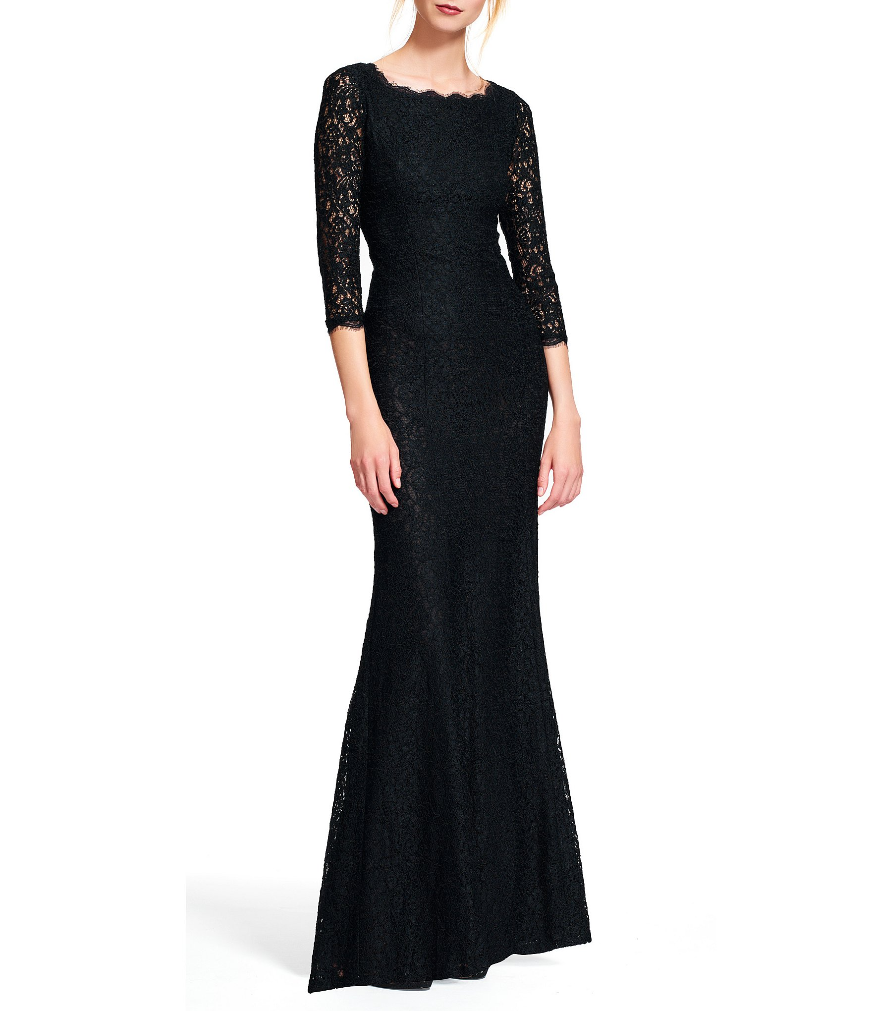 Adrianna Papell Scalloped Lace Gown Dillards