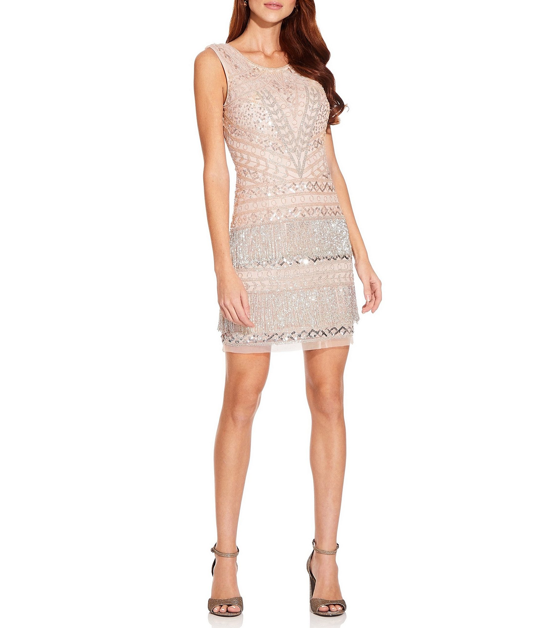 Adrianna Papell Sequin Beaded Fringe Scoop Neck Sleeveless Sheath Cocktail Dress Dillard S