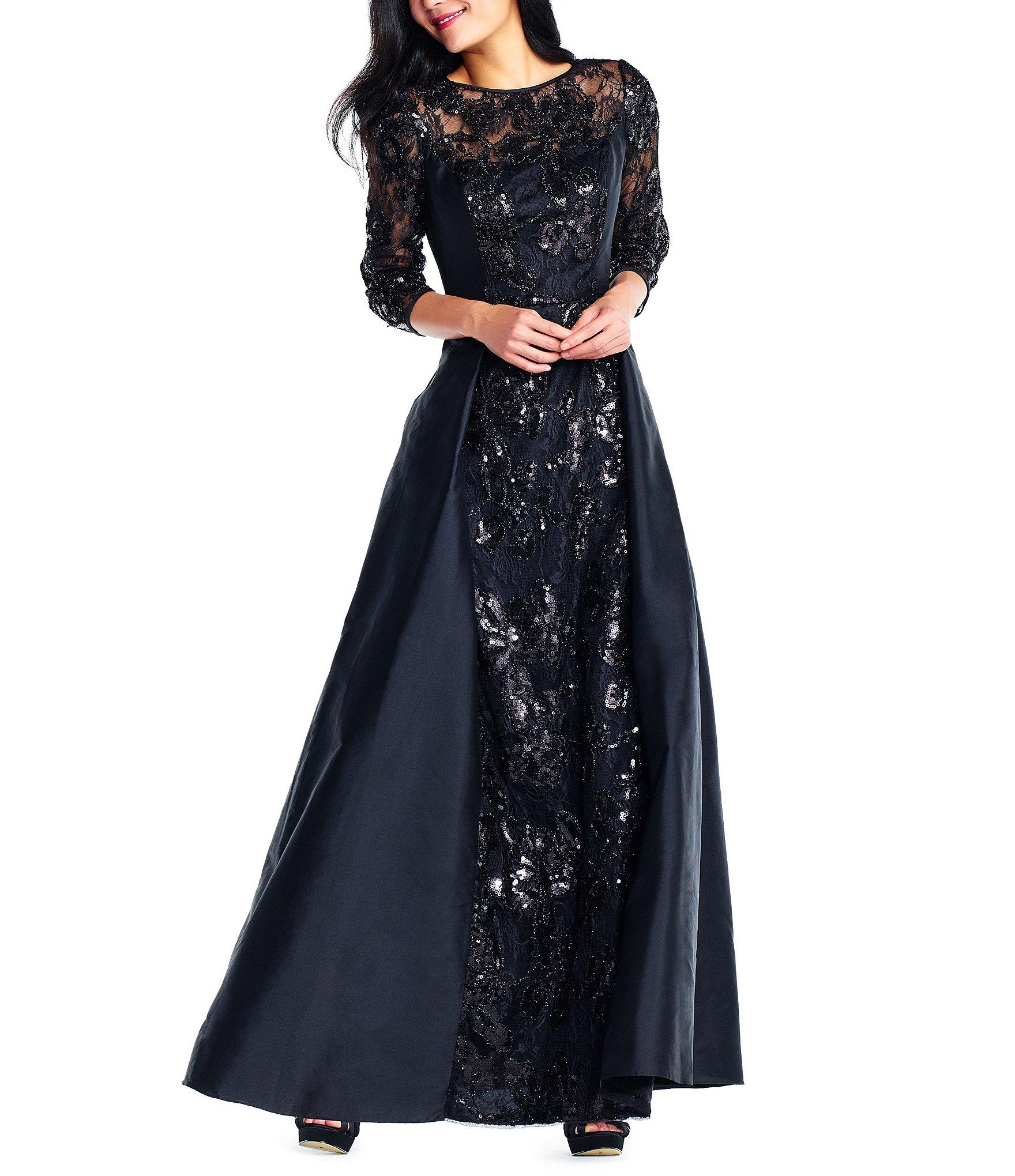 Adrianna Papell Sequined Taffeta Gown Dillards