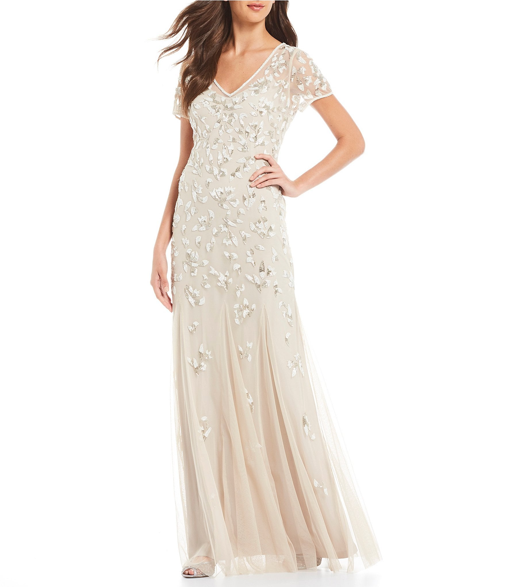 Dillards Wedding Gifts: Adrianna Papell Illusion Mesh V-Neck Beaded Gown