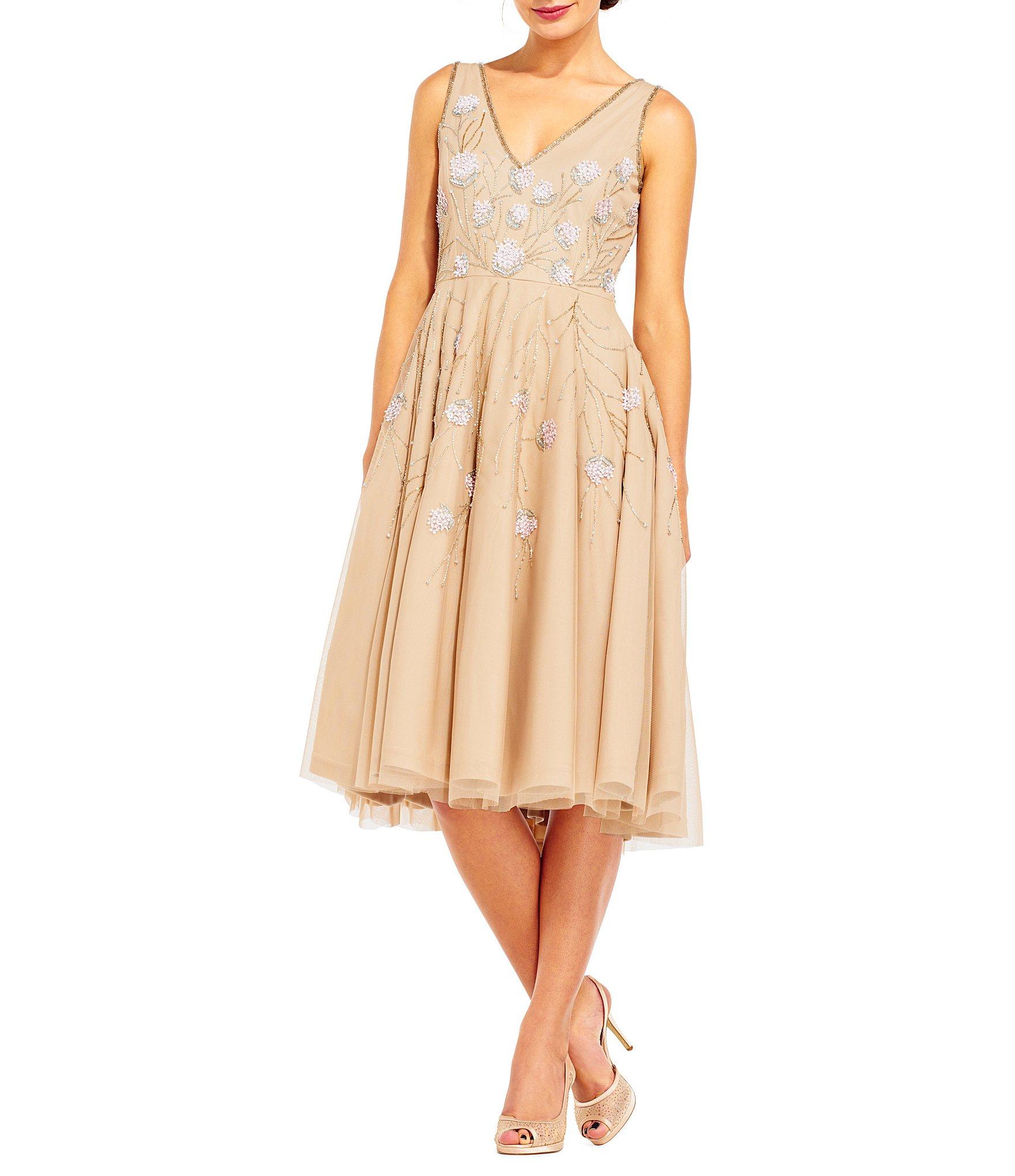 papell v neck beaded tea length dress dillards