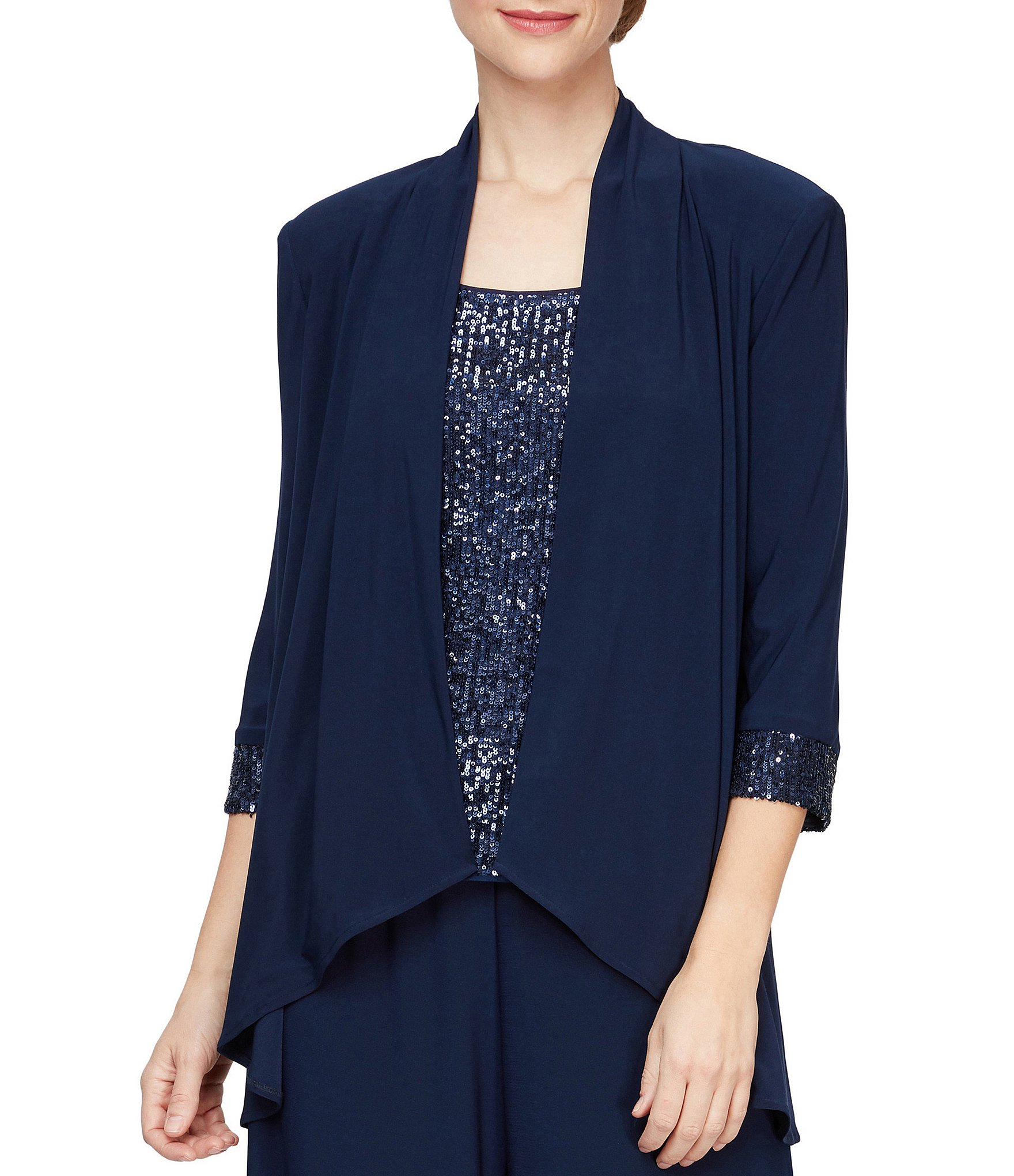 Alex Evenings Womens Black Satin Trim Open Front Crop Blazer Jacket 16 BHFO 4575
