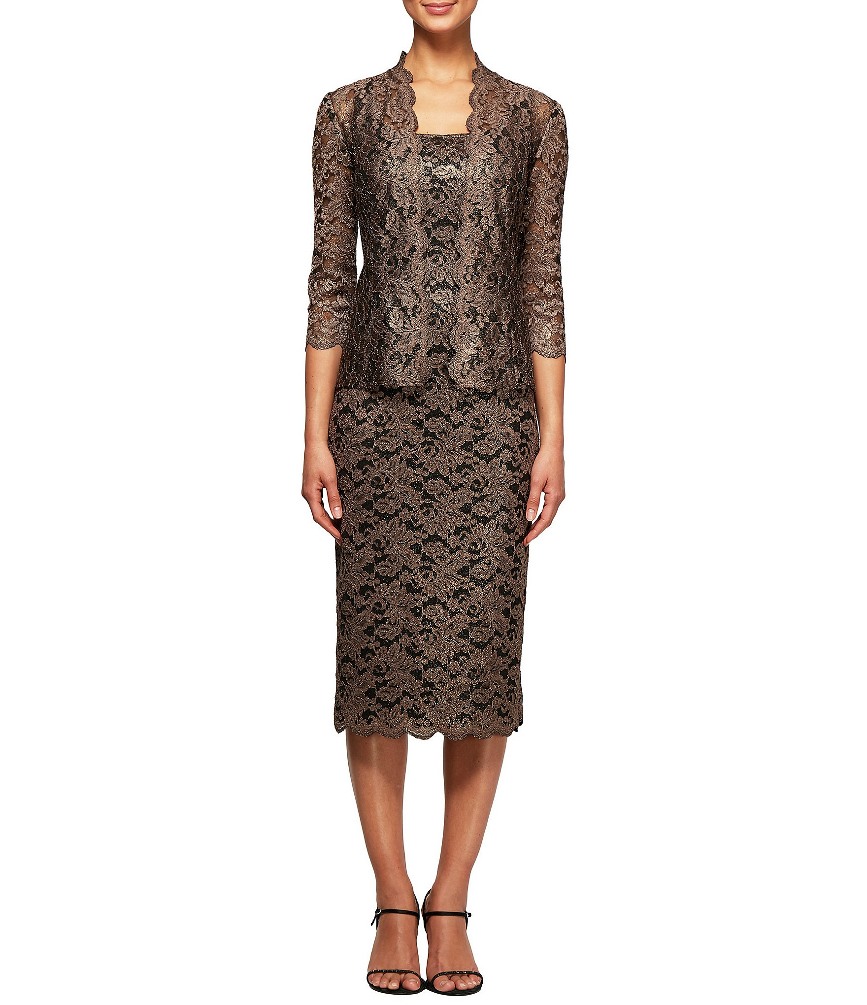 alex evenings petite metallic lace 2 piece jacket dress dillards. Black Bedroom Furniture Sets. Home Design Ideas