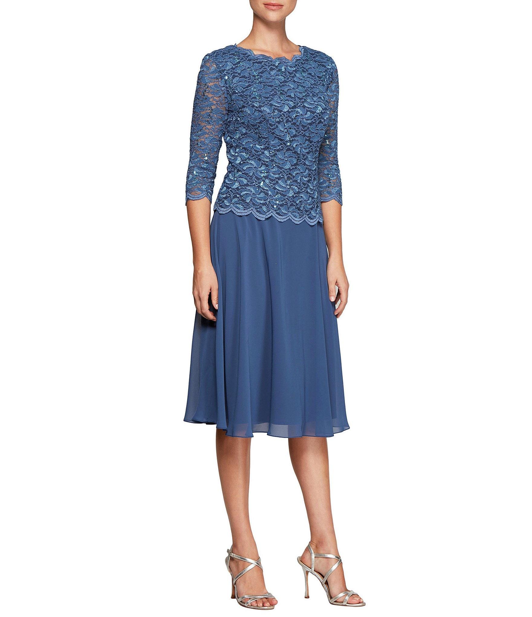 Dillard S Wedding Registry: Alex Evenings Petite Mock 2-Piece Lace T-Length Dress