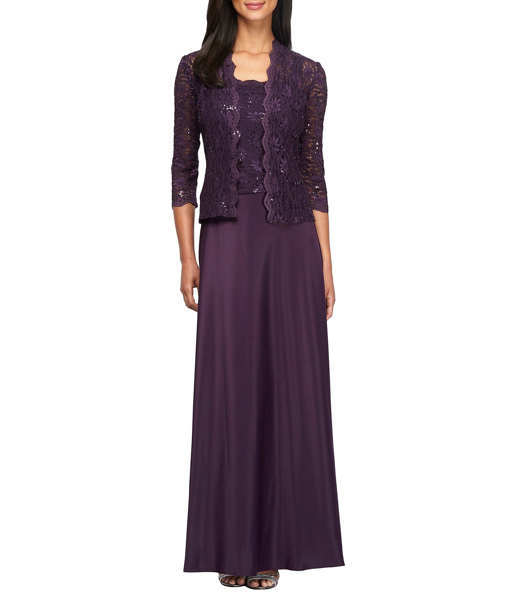 3416e6ac30f4 Alex Evenings Petite Sequin A-Line Mock Jacket Dress | Dillard's