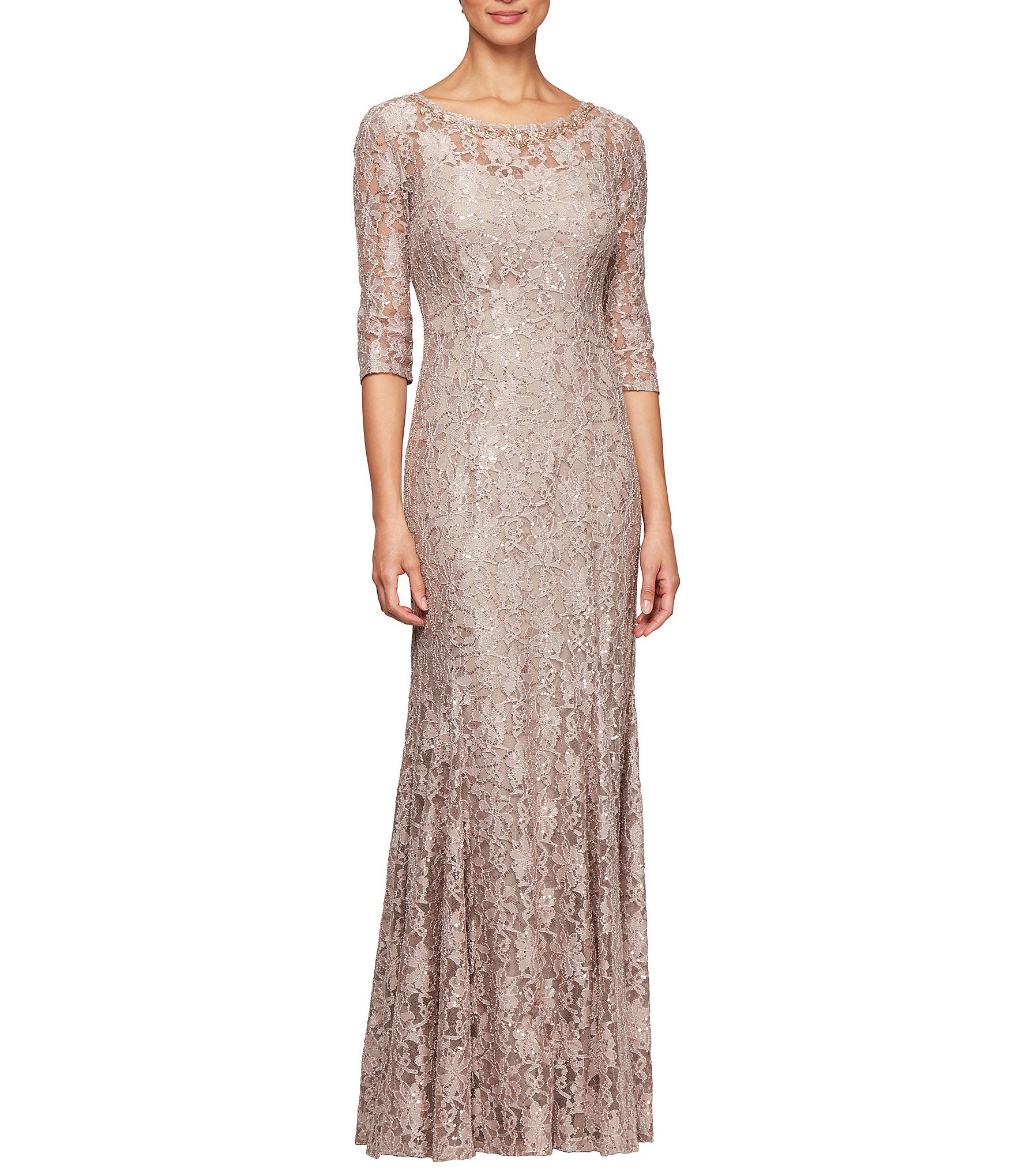 449120177629b Alex Evenings Petite Sequin Lace 3/4 Sleeve Long Gown