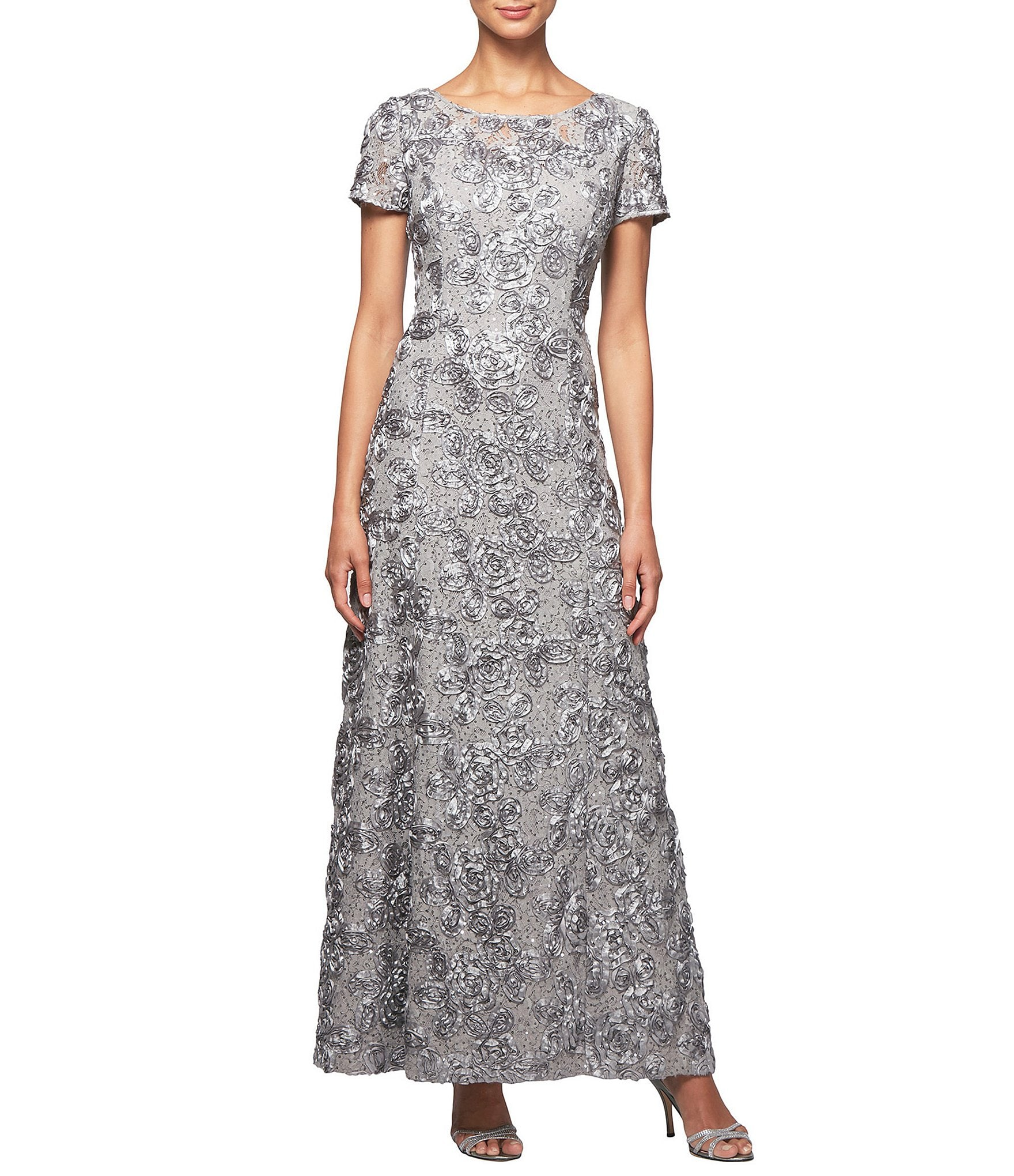 Alex Evenings Petite Sequined Lace Rosette Rose Gown