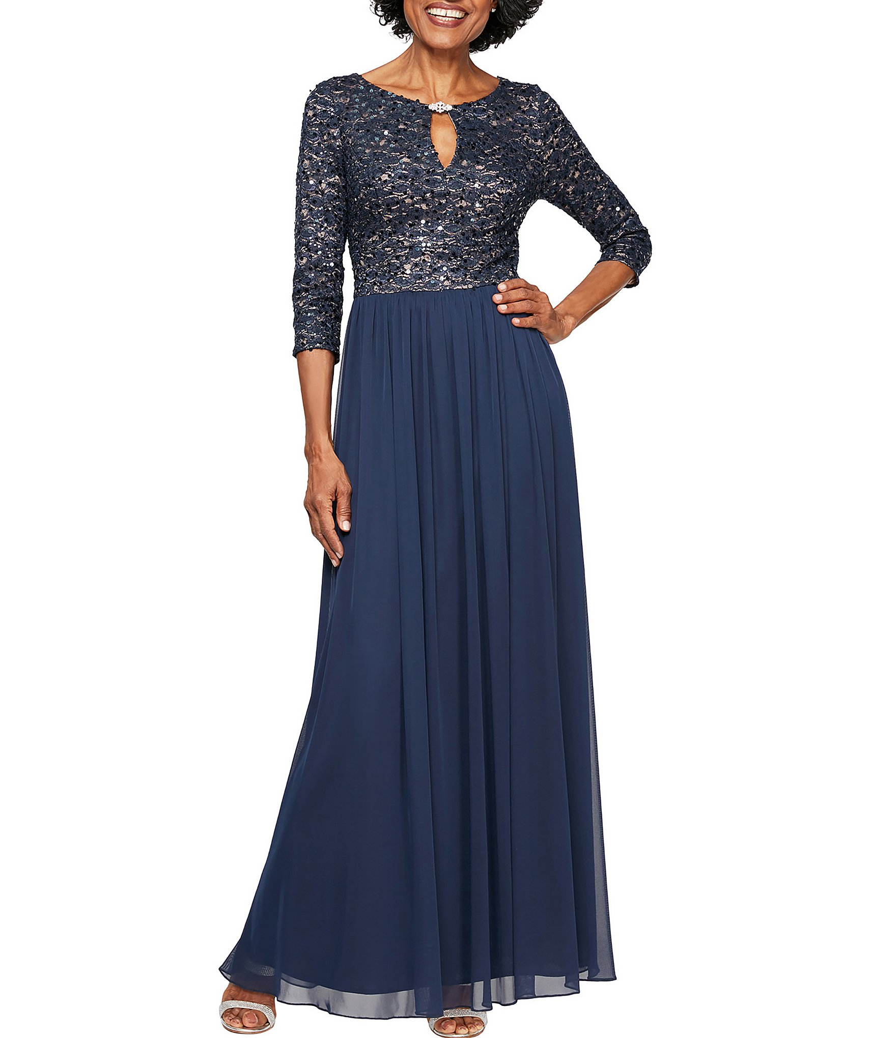 7be8b5804c284 Alex Evenings Petite Size Sequin Lace Bodice Embellished Keyhole Neck  Chiffon A-Line Gown