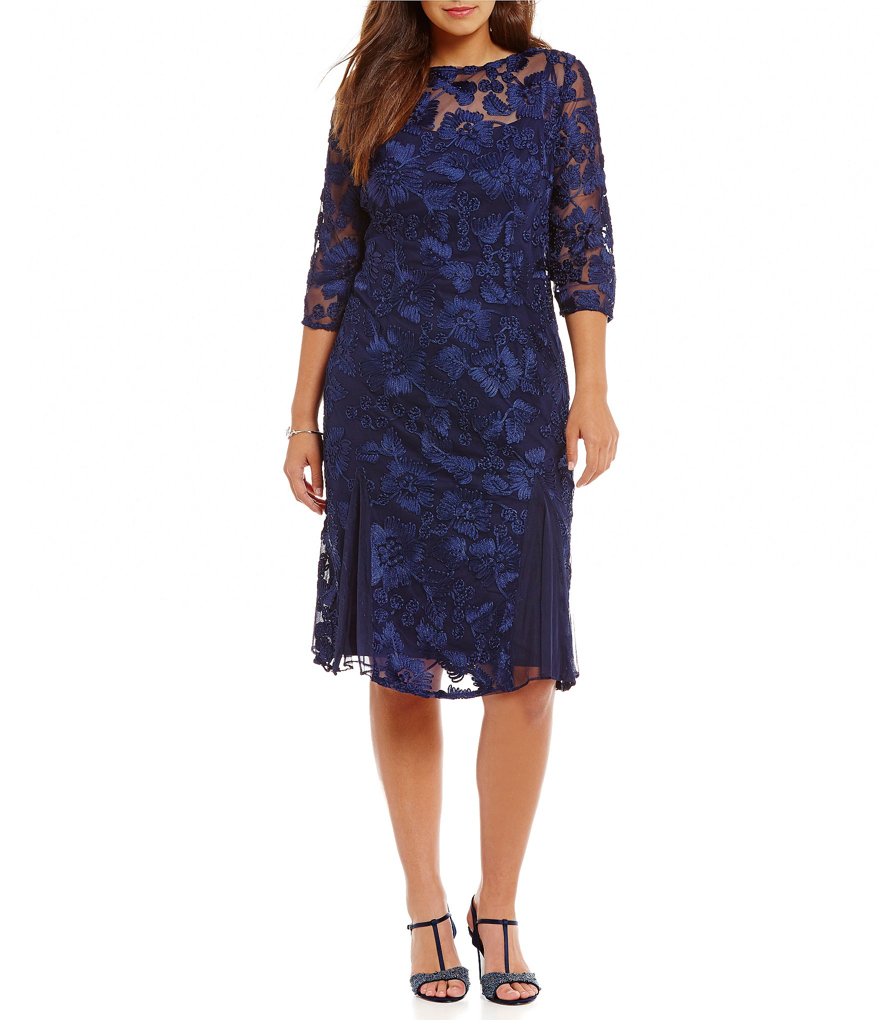 Alex Evenings Plus 3 4 Sleeve Embroidered Midi Dress
