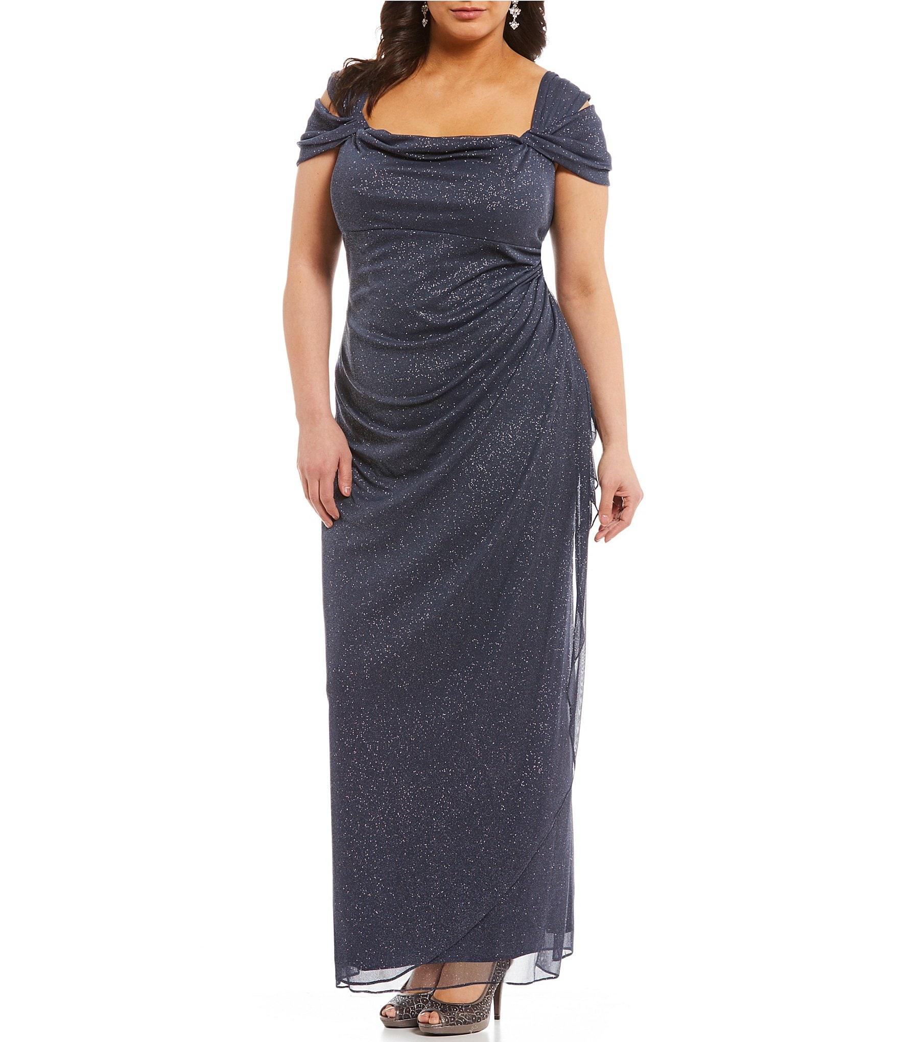 48ec21da2cc99 glitter mesh cold shoulder gown  Women s Plus-Size Clothing ...