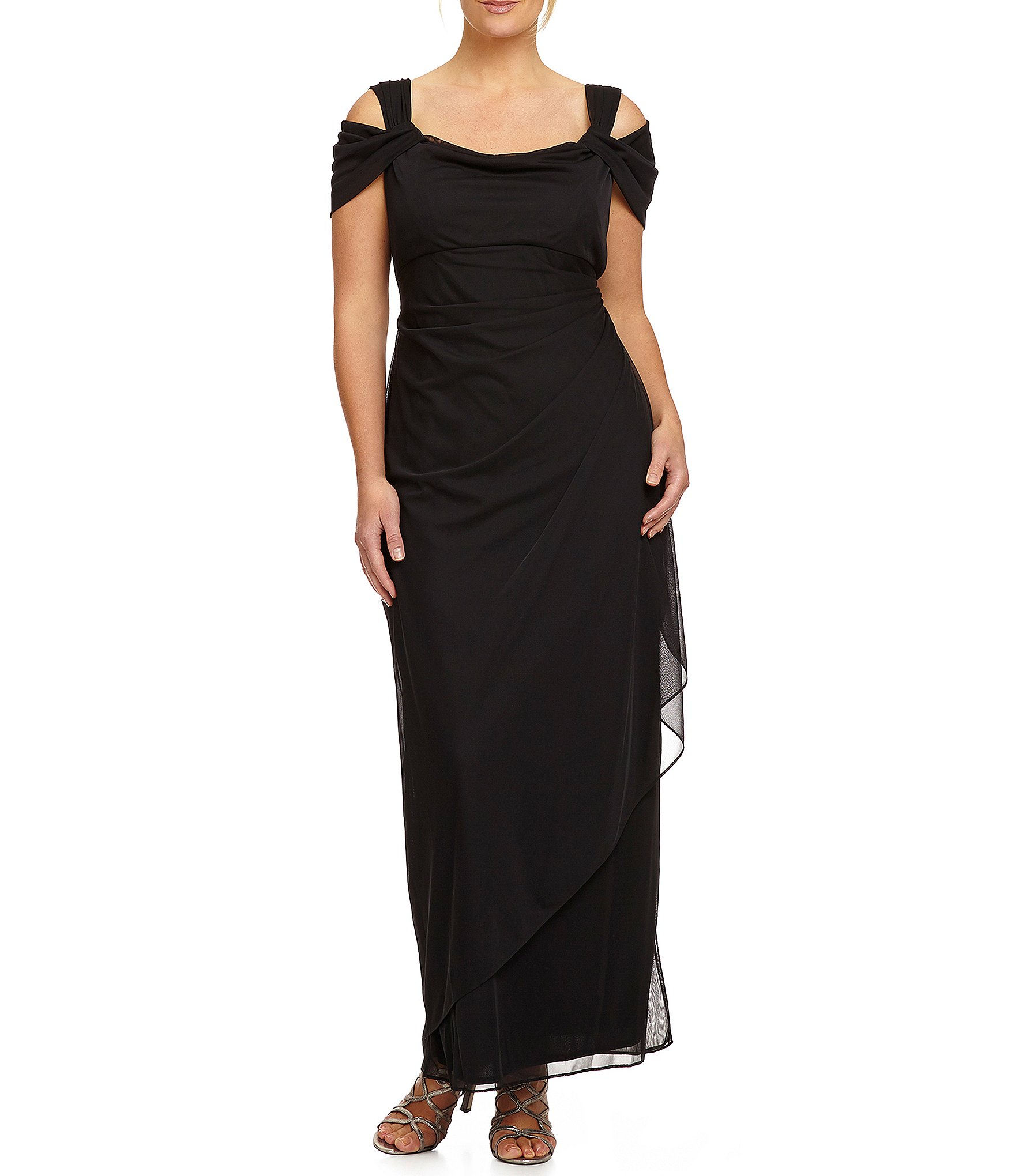 Alex Evenings Plus Exposed-Shoulder Gown | Dillards