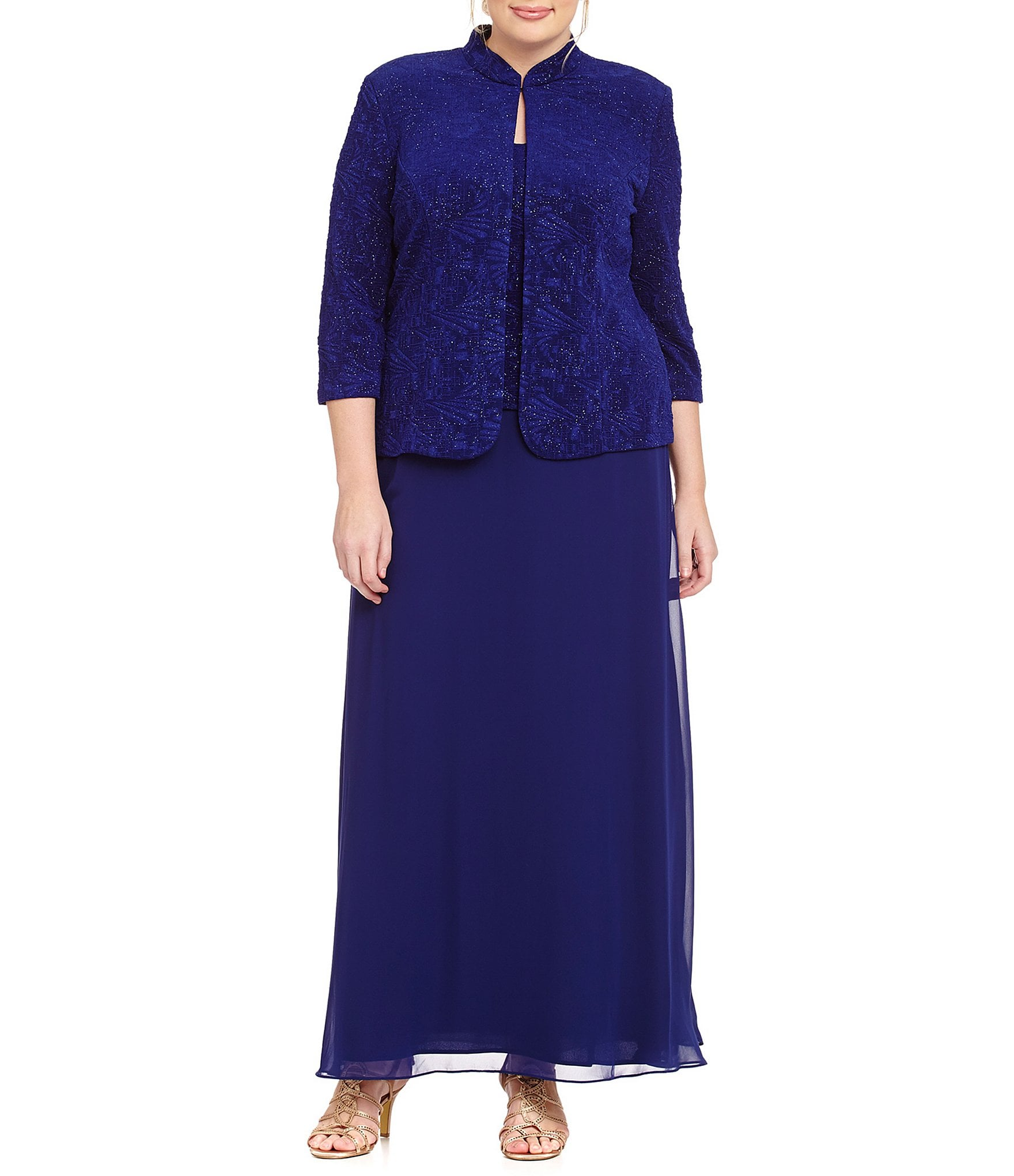 f9b16c4e9a4 Blue Plus-Size Special Occasion Jacket Dresses
