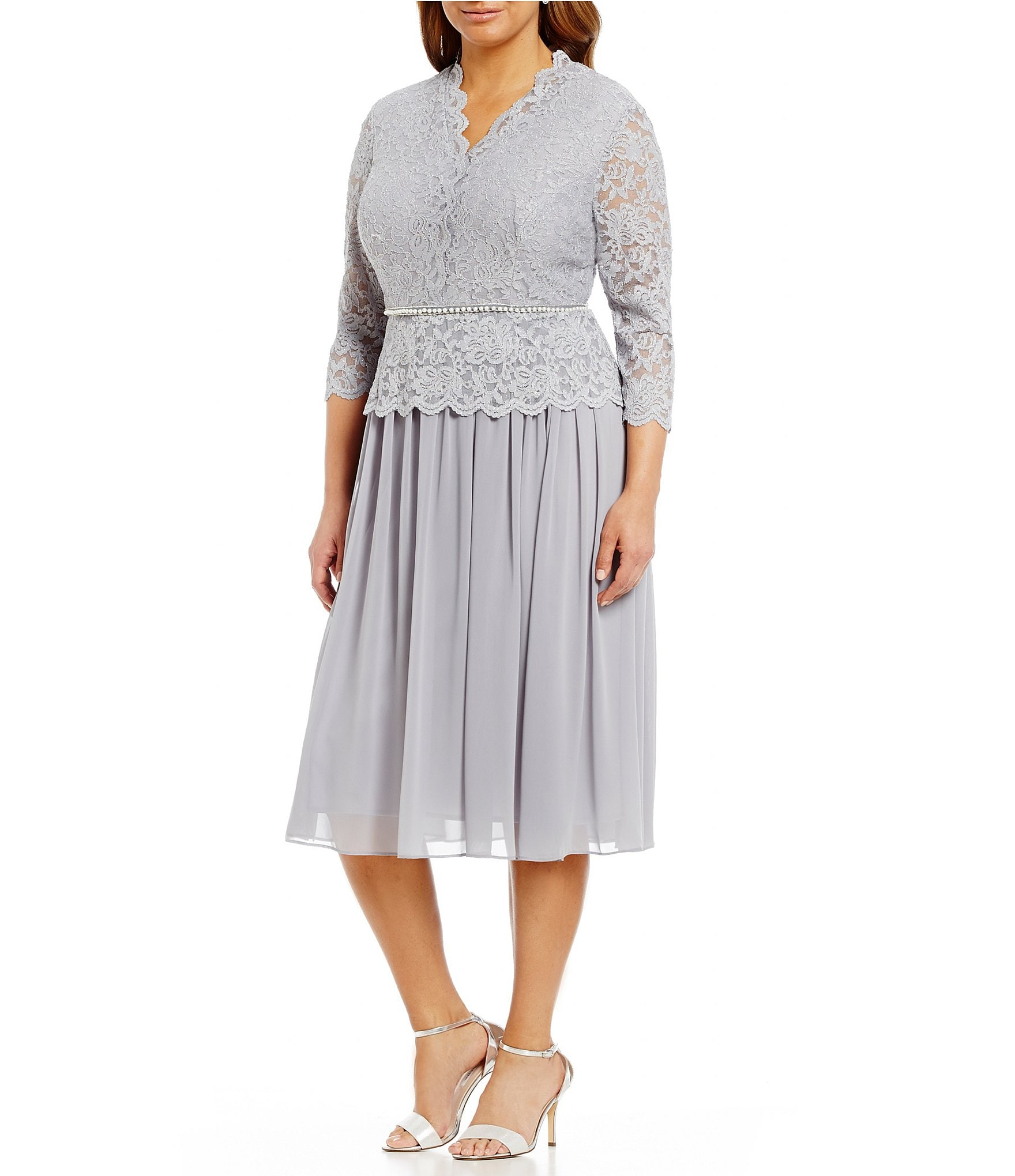 Alex evenings plus lace chiffon tea length dress dillards for Silver tea length wedding dresses