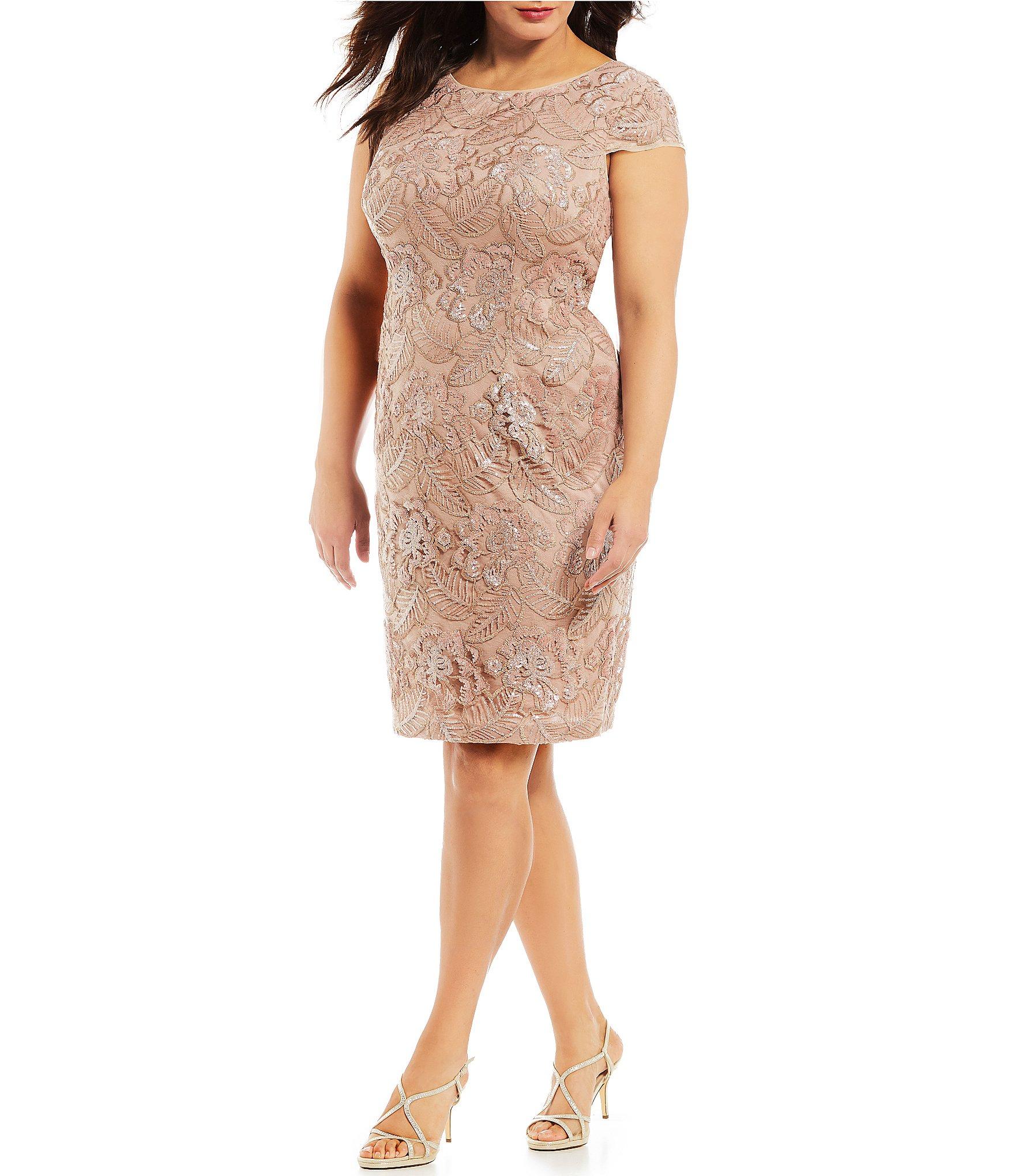 Alex Evenings Plus Size Cap Sleeve Floral Embroidered Sequin Dress ...