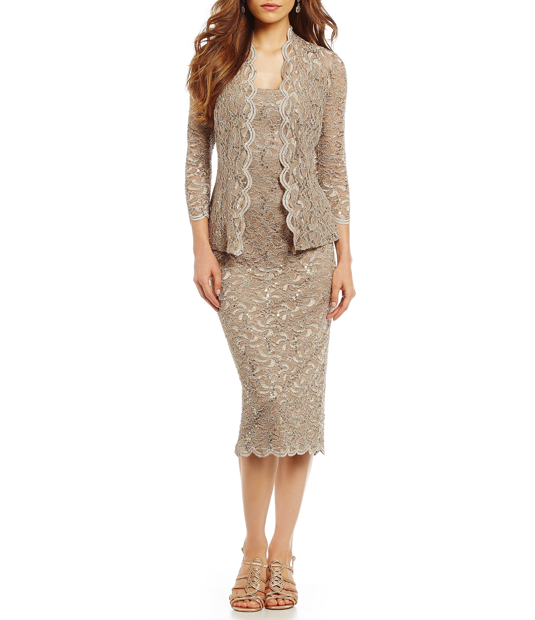 Alex Evenings Scalloped Lace Midi Jacket Dress Dillard S