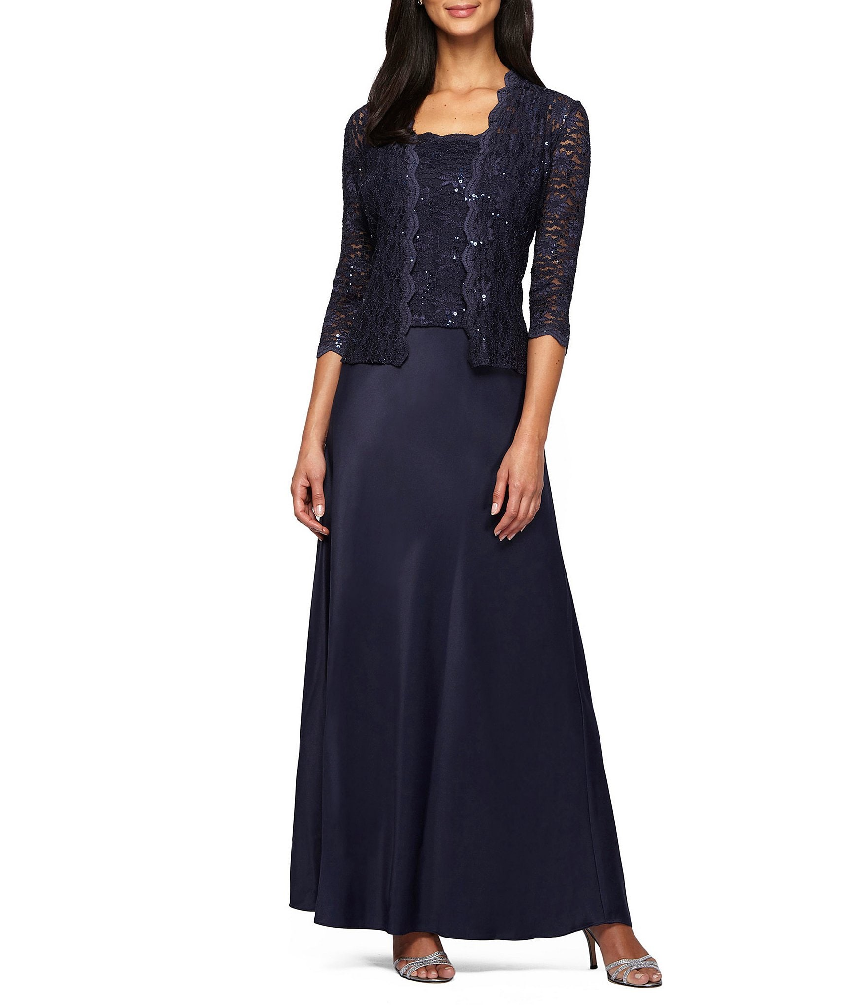 Dressing Gowns For Women: Alex Evenings Sequin A-Line Jacket Dress