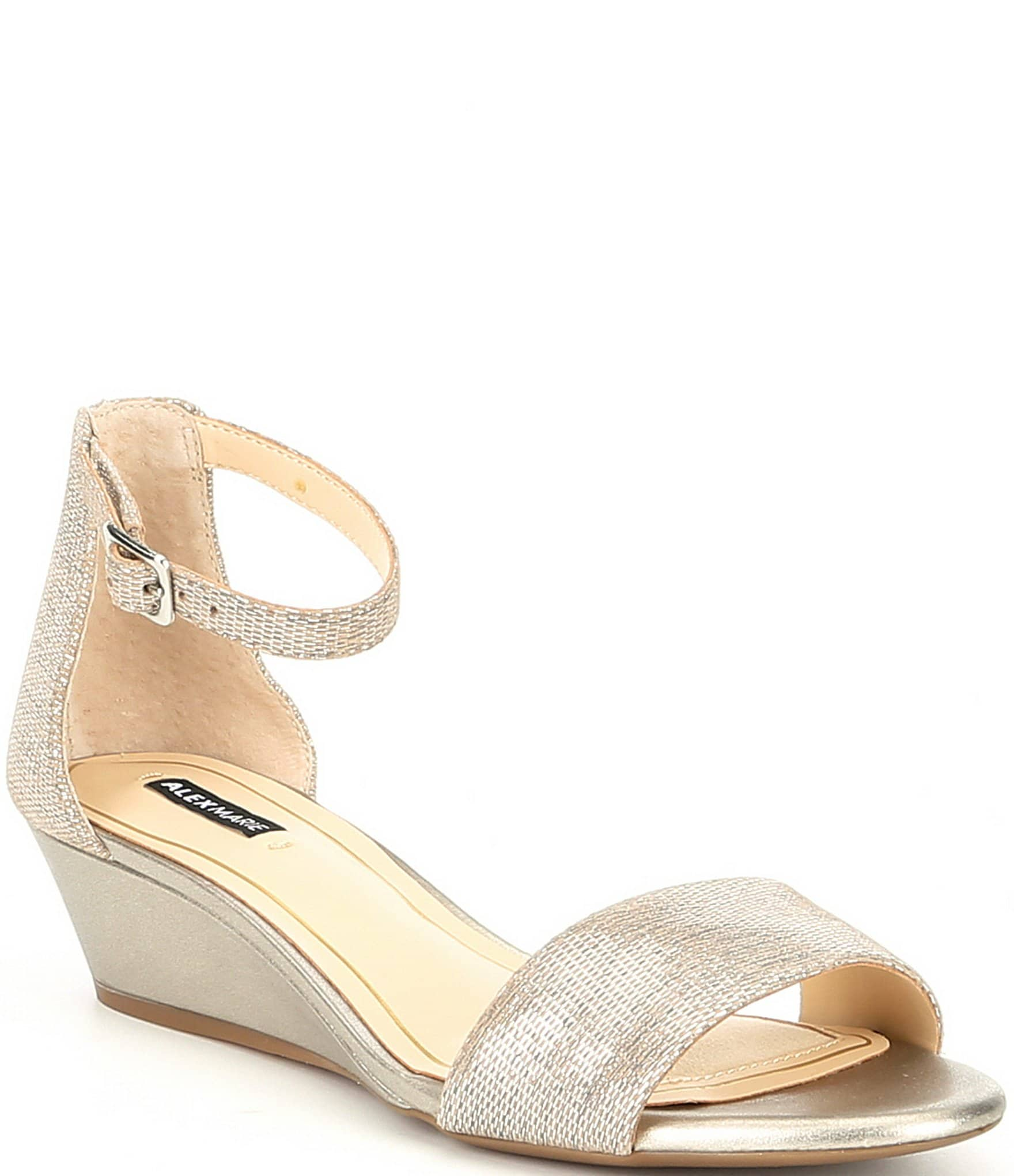 7b3c81dd9d0 Alex Marie Mairitwo Metallic Leather Ankle Strap Wedge Sandals