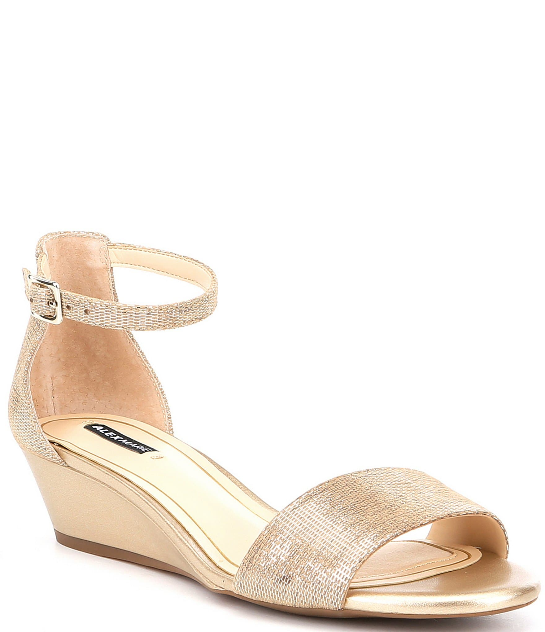 Alex Marie Mairitwo Metallic Leather Ankle Strap Wedge Sandals ...
